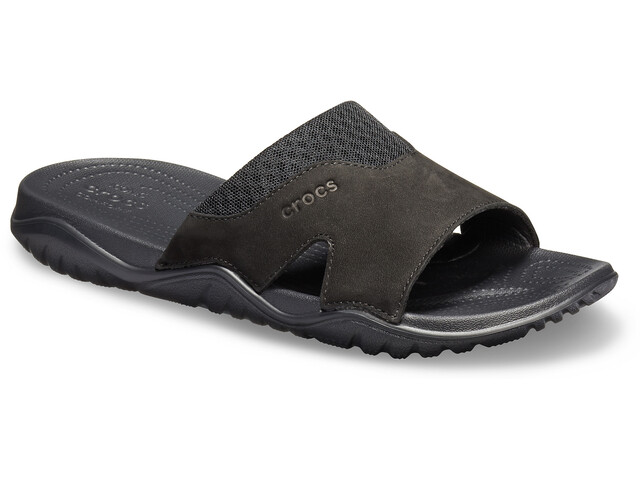 Crocs Swiftwater Lederslides Herren black/black